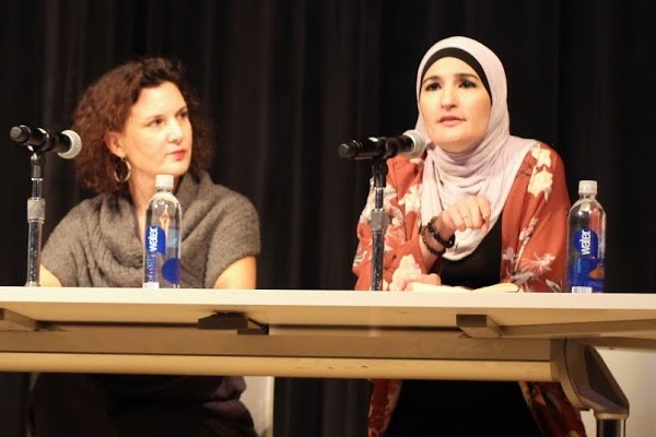 Rebecca Vilkomerson (L) and Linda Sarsour at a panel on anti-Semitism, New York, November 28, 2017. (Jules Cowan/Jewish Voice for Peace)