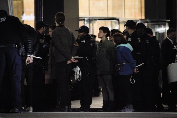 The NYPD arrests seven Jewish Voice for Peace members at the Anti-Defamation League's offices in New York following a protest action against police training for U.S. police departments the group facilitates in Israel, November 9, 2017. (Courtesy of JVP)