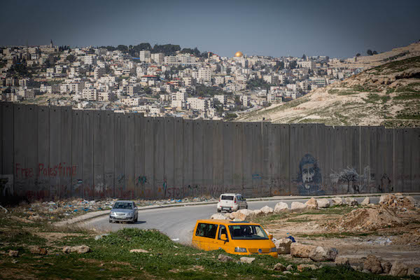 View of the Separation Wall as seen from the Palestinian town of Abu Dis. (Miriam Alster/FLASH90)