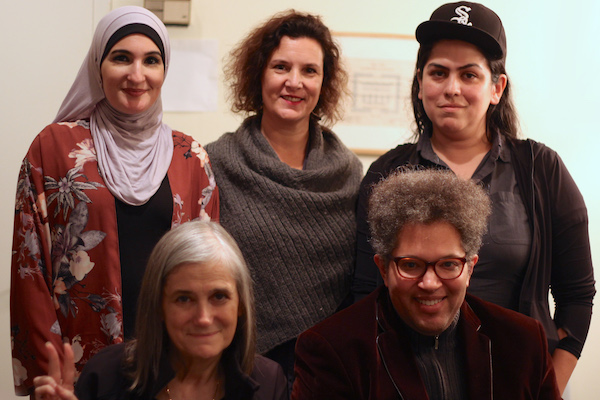 (L-R): Linda Sarsour, Amy Goodman, Rebecca Vilkomerson, Leo Ferguson and Lina Morales pose before taking part in a panel on anti-Semitism, New York, November 28, 2017. (Jules Cowan/Jewish Voice for Peace)