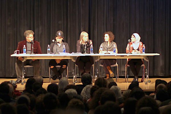 (L-R) Leo Ferguson, Lina Morales, Amy Goodman, Rebecca Vilkomerson and Linda Sarsour at a panel on anti-Semitism, New York, November 28, 2017. (Jules Cowan/Jewish Voice for Peace)