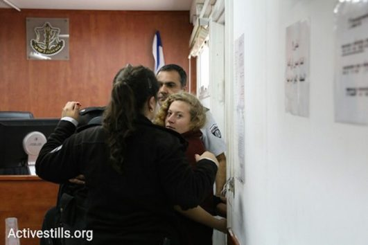 Ahed Tamimi in the Ofer prison military court. December 20, 2017. (Oren Ziv/Activestills)