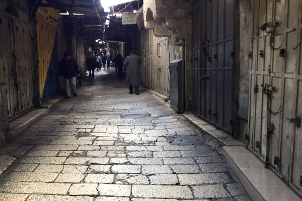 Shops in the Old City of Jerusalem are seen shuttered during a general strike called in protest of Donald Trumps declaration about Jerusalem, December 7, 2017. (Courtesy of Ir Amim)