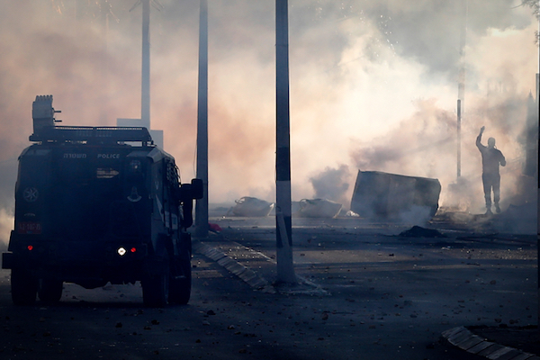 Israeli troops clash with Palestinians protesting in Bethlehem again Donald Trump's recognition of Jerusalem as Israel's capital, December 8, 2017. (Wisam Hashlamoun/Flash90)