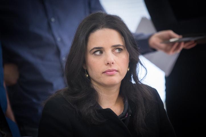 Justice Minister Ayelet Shaked attends a Jewish Home meeting at the Knesset on December 11, 2017. (Yonatan Sindel/Flash90)