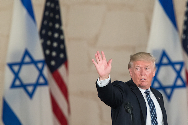 U.S. President Donald Trump gives a speech in Jerusalem, May 23, 2017. (Yonatan Sindel/Flash90)