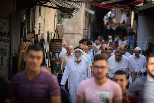 Muslim men seen leaving the Al Aqsa Mosque Compound in Jerusalem's Old City after their prayers during the muslim holy month of Ramadan at Al Aqsa mosque, in Jerusalem on June 7, 2017. (Hadas Parush/FLASH90)