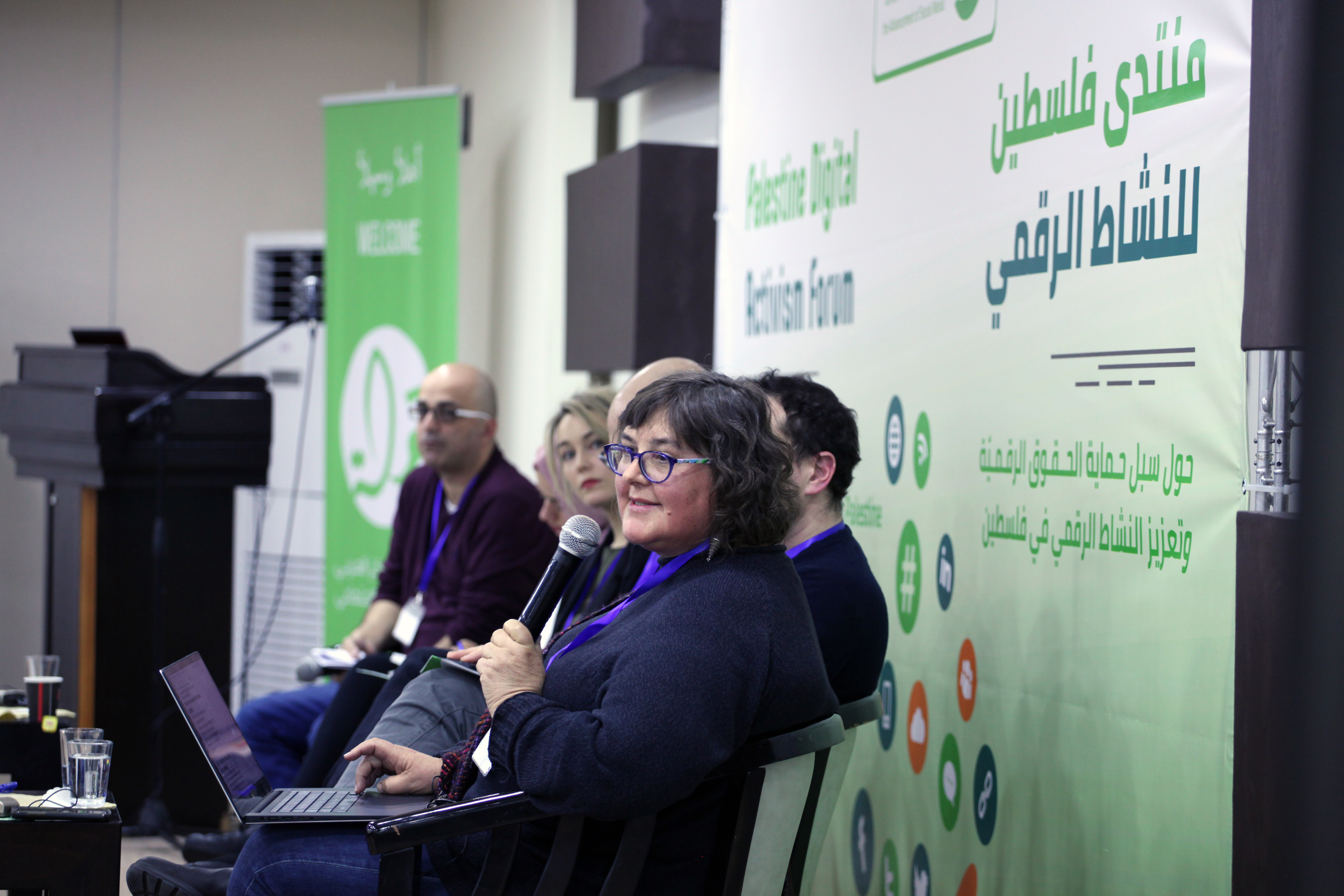 Human rights defender and computer networking pioneer Anriette Esterhuysen speaks at 7amleh's Palestine Digital Activism Forum, Ramallah, West Bank, January 18, 2018. (Courtesy of 7amleh)