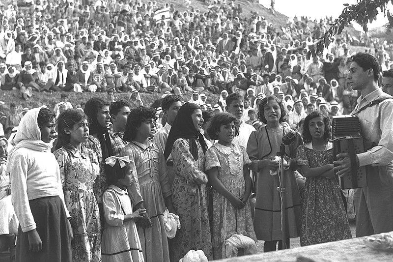 An Arab choir sings at Independence Day celebrations, held in Umm al-Fahm, April 29, 1958 (Moshe Pridan/GPO)