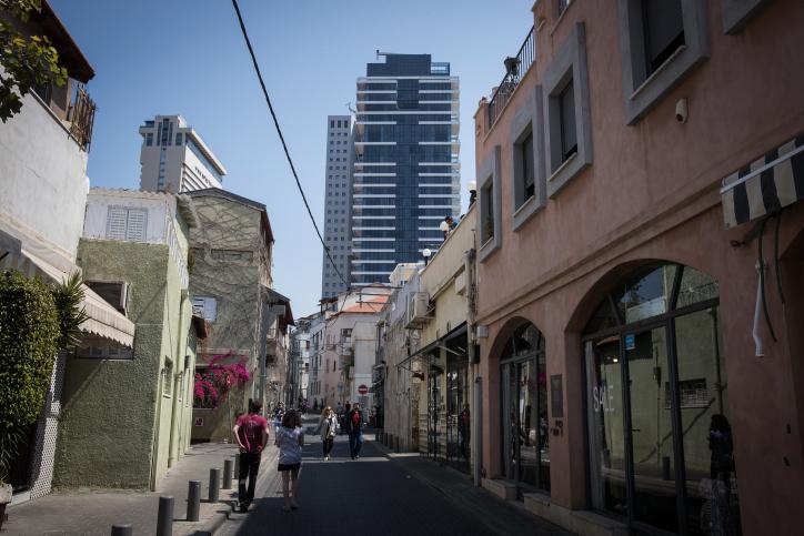 A view of the Neve Tzedek neighborhood in Tel Aviv, March 25, 2017. (Nati Shohat/Flash90)