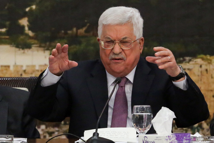 Palestinian President Mahmoud Abbas speaks during a meeting with members of the PLO Central Committee in the West Bank city of Ramallah, January 14, 2018. (Flash90)