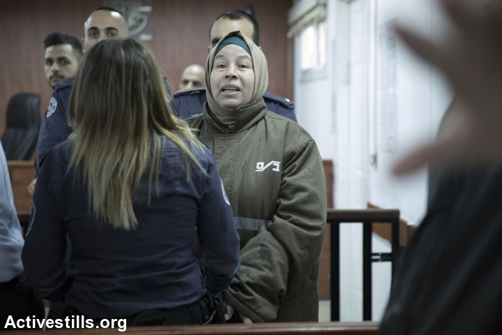 is seen before her hearing at Ofer Military Court near the West Bank city of Ramallah, January 17, 2018. (Oren Ziv/Activestills.org)