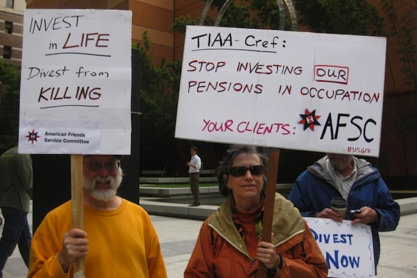 Illustrative photo of Members of the American Friends Service Committee demonstrating against the Israeli occupation. (AFSC)