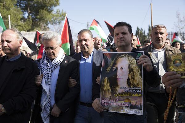 MK Ayman Odeh at the demonstration in Nabi Saleh, January 13, 2018. (Oren Ziv/Activestills.org)