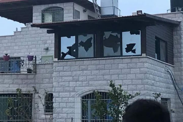 A Palestinian house in the village of Far'ata damaged by settlers in a revenge attack. (Courtesy of Yesh Din)