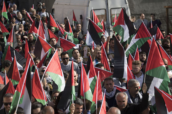 Hundreds of demonstrators demand freedom for Ahed and Nariman Tamimi in Nabi Saleh, January 18, 2018. (Oren Ziv/Activestills.org)