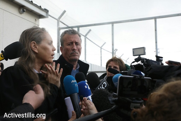 Gaby Lasky, Ahed Tamimi's attorney, and Bassem Tamimi, Ahed's father, outside of the Ofer military prison. February 13, 2018. (Oren Ziv/Activestills.org)