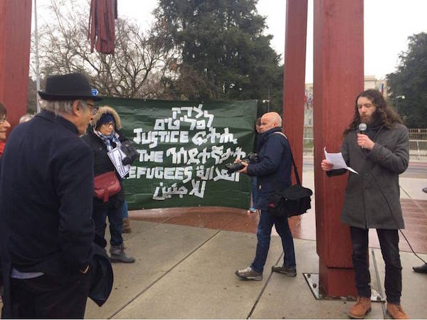 Demonstrators outside of the Rwandan embassy in Geneva. February 7, 2018. (Ana Wild)