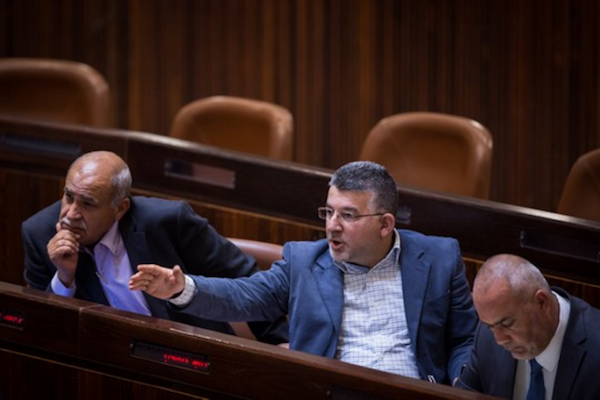 Joint List MK Yousef Jabareen seen in the Knesset. (Hadas Parush/Flash90)