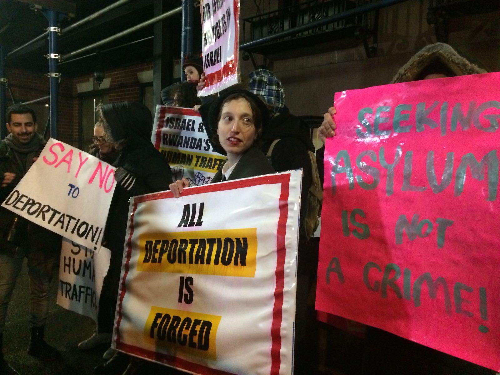 Anti-deportation protest outside the Rwandan UN mission in Manhattan, February 7, 2018.