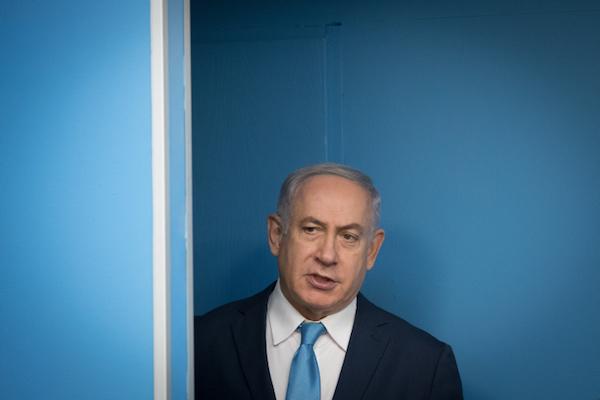 Israeli Prime Minister Benjamin Netanyahu at the Prime Minister's Office in Jerusalem, January 3, 2018. (Yonatan Sindel/Flash90)