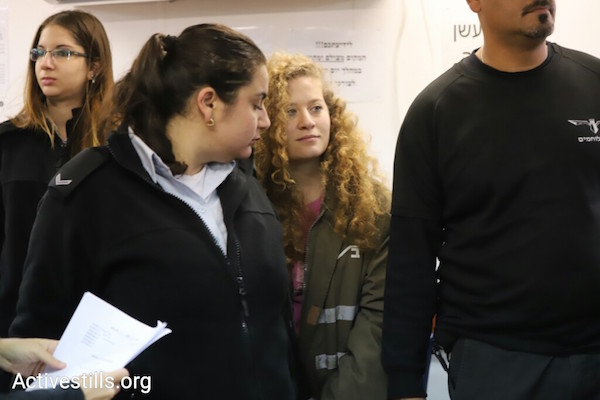 Ahed Tamimi during the first hearing of her trial at the Ofer prison military court. February 13, 2018. (Oren Ziv/Activestills.org)