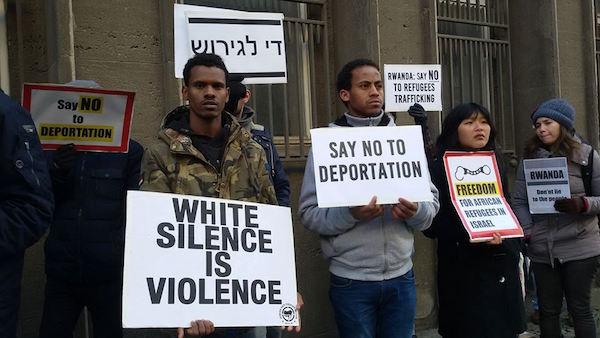 Demonstrators outside the Rwandan embassy in Berlin. February 7, 2018. (Shahar Shoham)