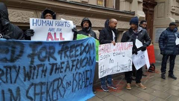 Protesters outside the Rwandan embassy in Stockholm. February 2, 2018. (Netta Beer)