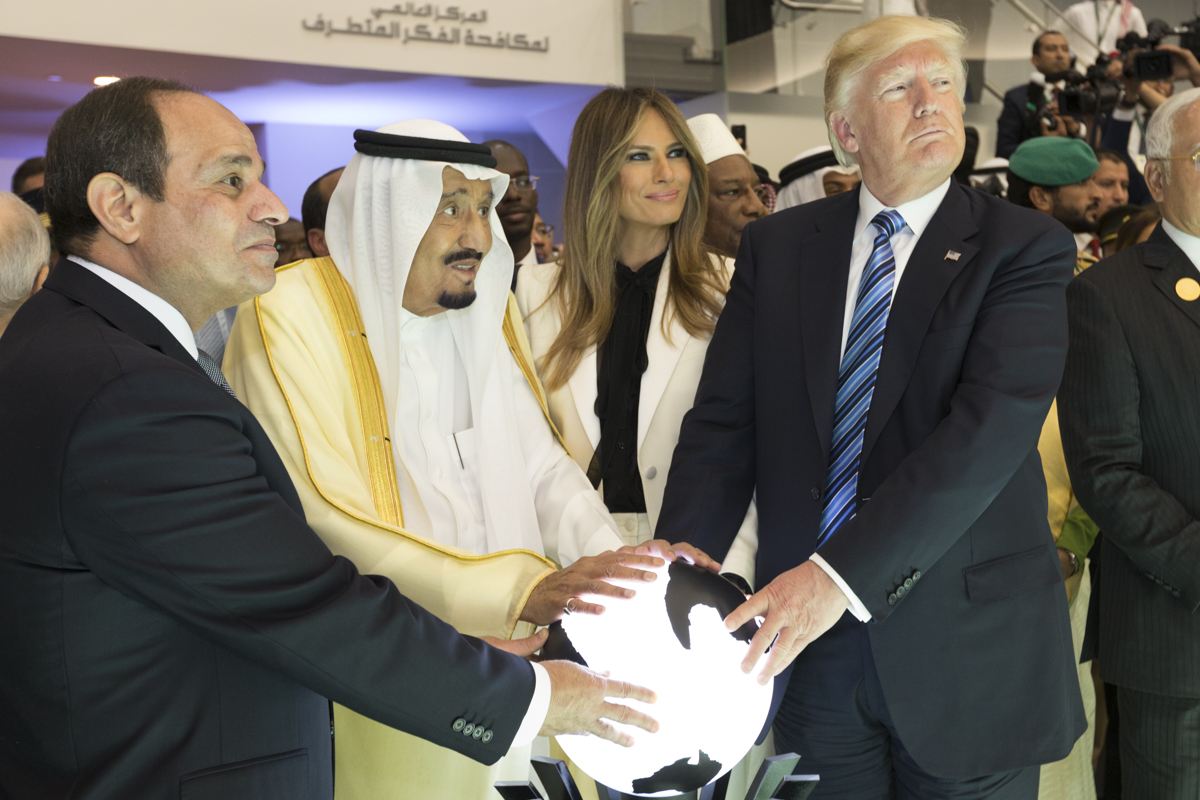 President Donald Trump and First Lady Melania Trump join King Salman bin Abdulaziz Al Saud of Saudi Arabia, and the President of Egypt, Abdel Fattah Al Sisi, Sunday, May 21, 2017, to participate in the inaugural opening of the Global Center for Combating Extremist Ideology. (Official White House Photo by Shealah Craighead)