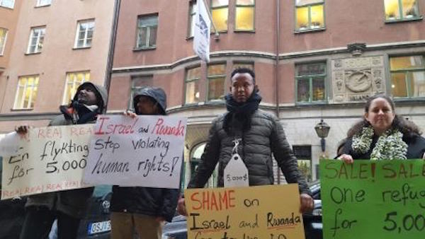 Protesters outside the Rwandan embassy in Stockholm on Friday, February 2, 2018. (Netta Beer)