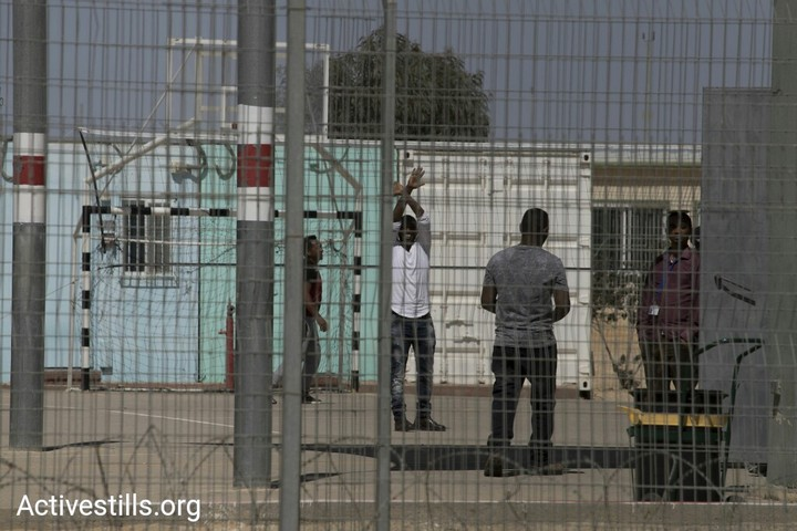 African asylum seekers seen on the day of Holot's closing, March 14, 2018. (Oren Ziv/Activestills.org)