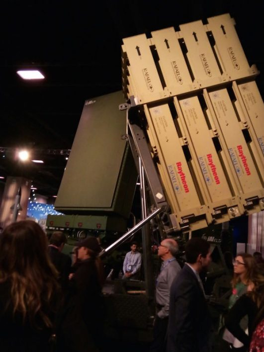 A model of the Iron Dome at the AIPAC conference, 2018. (Dahlia Scheindlin)