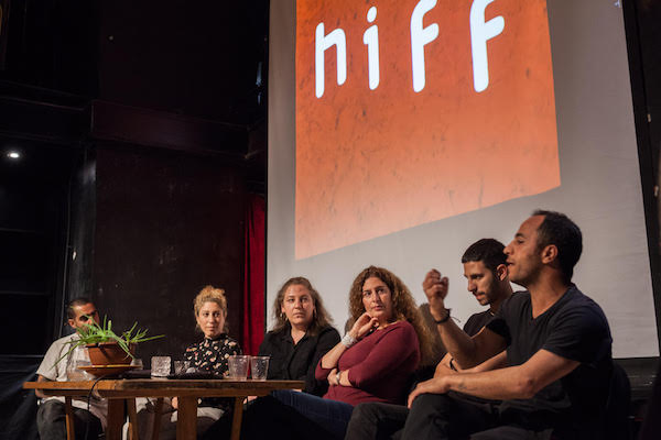 Haifa International Film Festival organizers speak during a press conference at the festival launch event at Khashba Theater, Haifa, March 22, 2018. (Hamody Gannam)