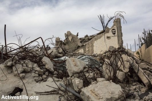 A demolished home in the West Bank village of Walajeh, March 18, 2018. (Anne Paq/Activestils.org)
