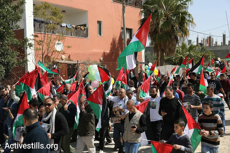 Demonstrators mark 13 years of popular struggle in Bil'in. March 2, 2018. (Activestills.org)