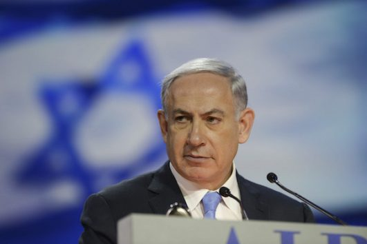 Prime Minister Benjamin Netanyahu speaks at the AIPAC Policy Conference in Washington DC, US, on March 2, 2015. (Amos Ben Gershom/GPO)