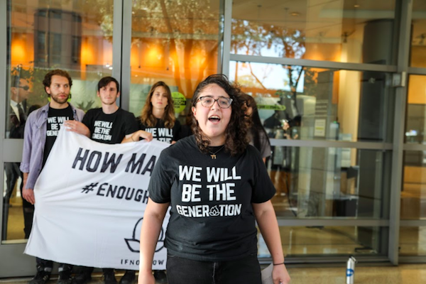 IfNotNow protesters demonstrate outside the Jewish Federation of Greater Los Angeles, April 11, 2018. (Amira Alhassan)