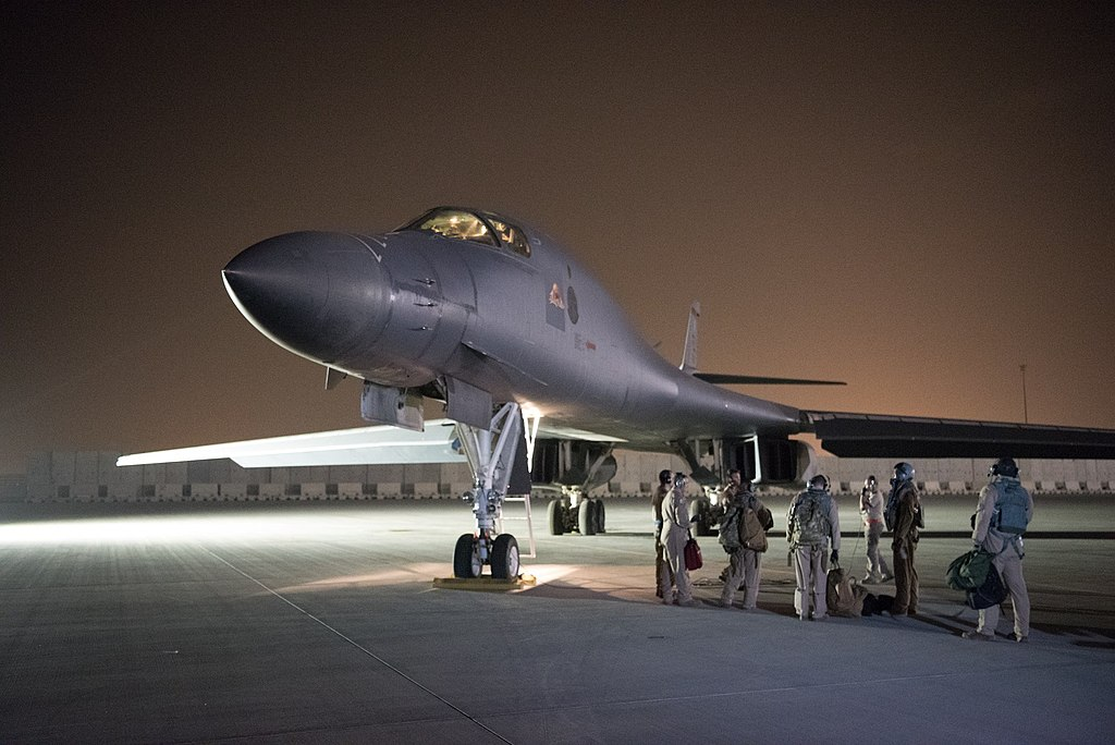 A U.S. 34th Expeditionary Bomb Squadron B-1B Lancer prepares to launch a strike mission from Al Udeid AIr Base, Qatar, April 13, following Syria's recent use of chemical weapons. (U.S. Air Force photo by Master Sgt. Phil Speck)