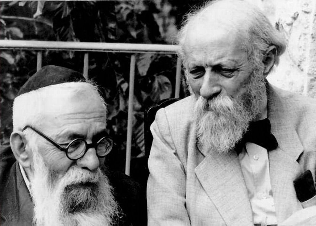 Martin Buber and Rabbi Binyamin, founders of the bi-national Brit Shalim movement, seen in Palestine. (Central Zionist Archives)