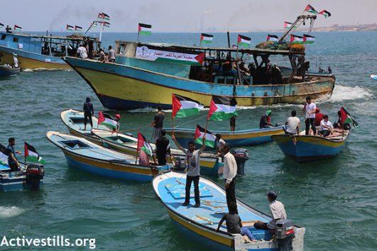 "The Gaza ""Freedom Boat"" in port in Gaza, before attempting to break Israel's naval blockade. (Mohammed Zaanoun/Activestills.org)"