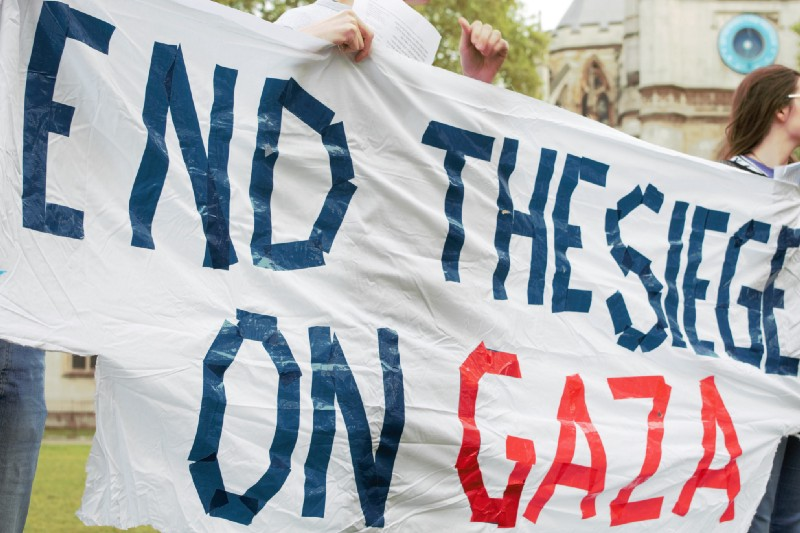 Left-wing Jews hold a protest in solidarity with Gaza, Parliament Square, London, May 16, 2018.