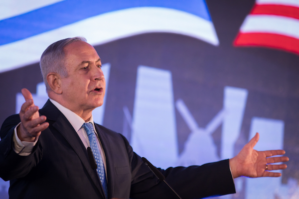 Israeli Prime Minister Netanyahu speaks at the Foreign Ministry gala celebrating the new U.S. embassy in Jerusalem, May 13, 2018. (Hadas Parush/Flash90)