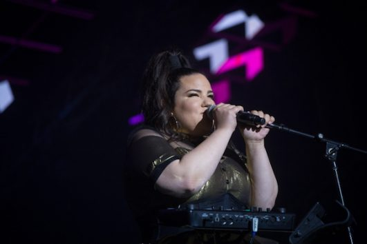 Netta Barzilai performs in Israeli television competition 'The Next Star of Eurovision.' (Miriam Alster/Flash90)