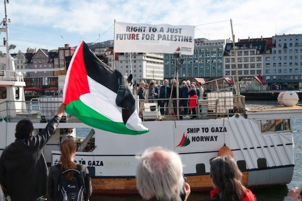 "A photo of the ""Awda,"" the 2018 boat to Gaza, seen leaving Bergen, April 30, 2018. (Freedom Flotilla Coalition)"