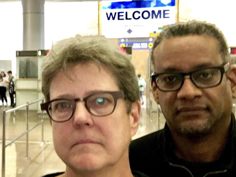 Katherine Franke and Vince Warren take a selfie at Ben-Gurion Airport before being deported, April 29, 2018. (Courtesy: Franke)