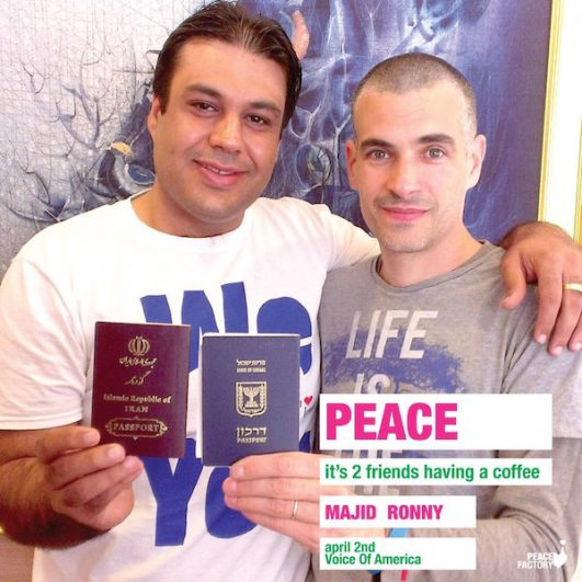 Ronny Edry, co-founder of Israel Loves Iran, with Majid, an Iranian. (Israel Loves Iran Facebook page)