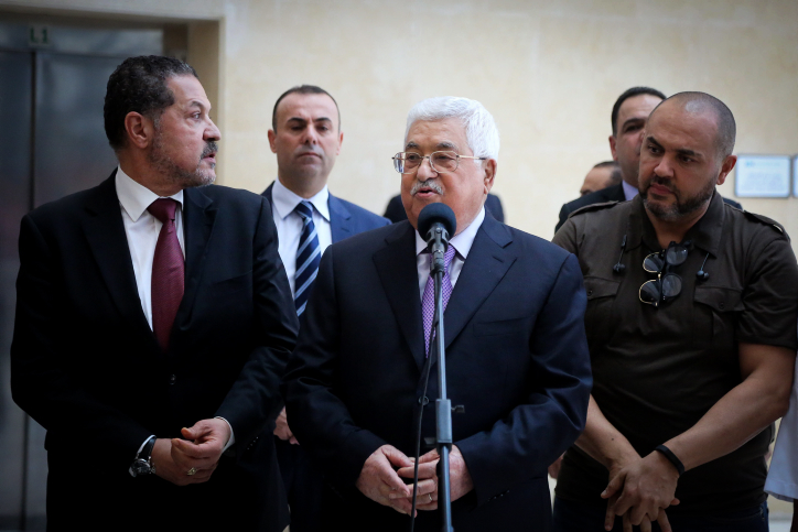 Palestinian President Mahmud Abbas seen upon his release from a hospital in Ramallah in the West Bank on May 28, 2018. (Flash90)
