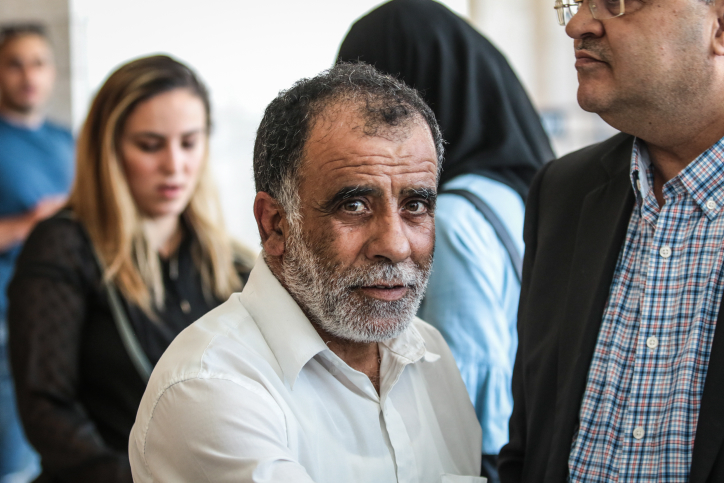 Hussein Dawabshe seen outside a court hearing in Lod, during a hearing on the attack on the West Bank village of Duma, where three members of the Dawabshe family were murdered, June 19, 2018. (Roy Alima/Flash90)