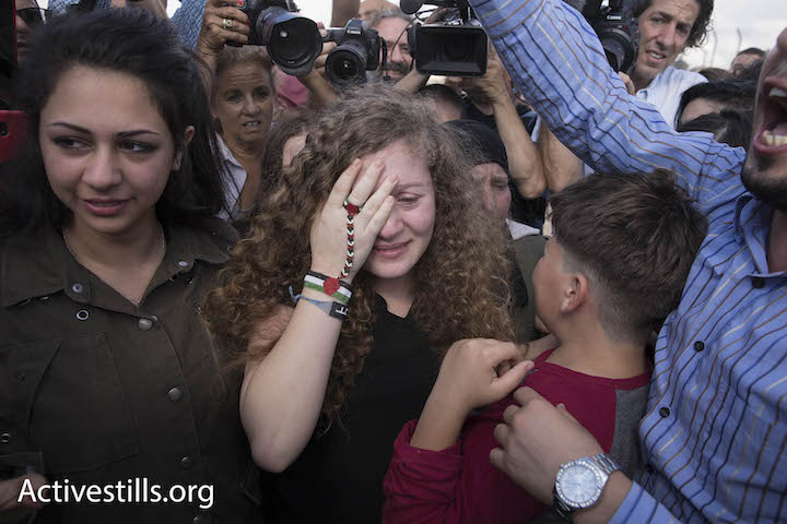 Ahed Tamimi, who spent eight months in an Israeli prison for slapping an Israeli soldier, is seen upon her release in her home village of Nabi Saleh, July 29, 2018. (Oren Ziv/Activestills.org)