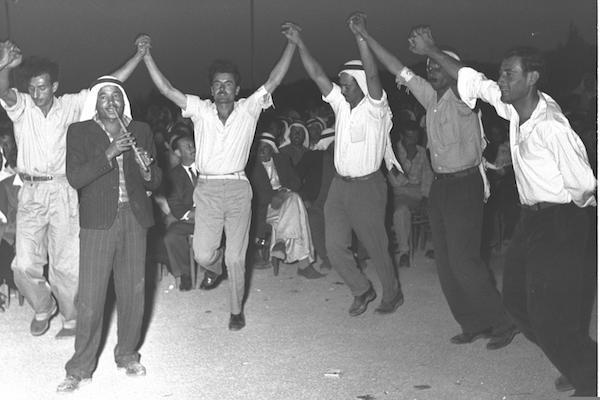 Arab citizens of Israel seen dancing in the village of Baqa al-Gharbiyye. (Moshe Pridan)